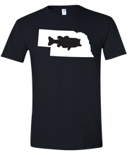 Load image into Gallery viewer, Short Sleeve T-Shirt Nebraska Black Large Mouth Bass Vibrant Design High Quality Tight Knit Ring Spun Low Maintenance Cotton Printed With The Newest Available Color Transfer Technology