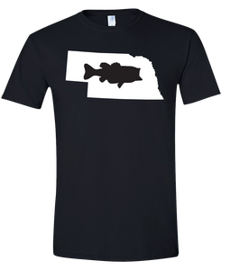 Short Sleeve T-Shirt Nebraska Black Large Mouth Bass Vibrant Design High Quality Tight Knit Ring Spun Low Maintenance Cotton Printed With The Newest Available Color Transfer Technology