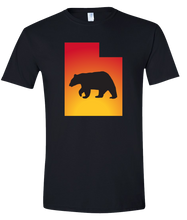 Load image into Gallery viewer, Short Sleeve T-Shirt Utah Black Black Bear Vibrant Design High Quality Tight Knit Ring Spun Low Maintenance Cotton Printed With The Newest Available Color Transfer Technology