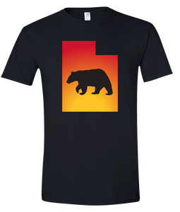 Short Sleeve T-Shirt Utah Black Black Bear Vibrant Design High Quality Tight Knit Ring Spun Low Maintenance Cotton Printed With The Newest Available Color Transfer Technology