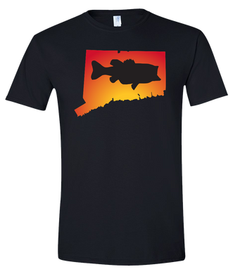 Short Sleeve T-Shirt Connecticut Black Large Mouth Bass Vibrant Design High Quality Tight Knit Ring Spun Low Maintenance Cotton Printed With The Newest Available Color Transfer Technology