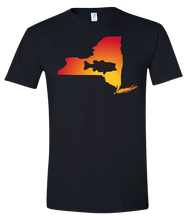 Load image into Gallery viewer, Short Sleeve T-Shirt New York Black Large Mouth Bass Vibrant Design High Quality Tight Knit Ring Spun Low Maintenance Cotton Printed With The Newest Available Color Transfer Technology
