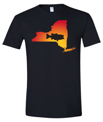Short Sleeve T-Shirt New York Black Large Mouth Bass Vibrant Design High Quality Tight Knit Ring Spun Low Maintenance Cotton Printed With The Newest Available Color Transfer Technology
