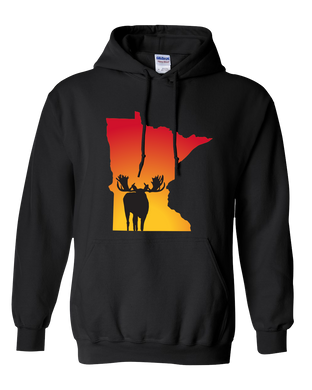 Pullover Hooded Sweatshirt Minnesota Black Moose Vibrant Design High Quality Tight Knit Ring Spun Low Maintenance Cotton Printed With The Newest Available Color Transfer Technology
