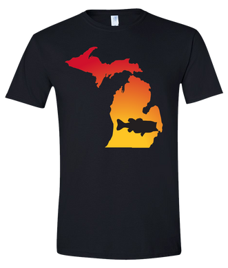 Short Sleeve T-Shirt Michigan Black Large Mouth Bass Vibrant Design High Quality Tight Knit Ring Spun Low Maintenance Cotton Printed With The Newest Available Color Transfer Technology