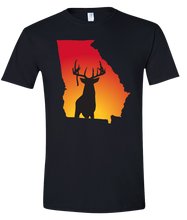 Load image into Gallery viewer, Short Sleeve T-Shirt Georgia Black Whitetail Deer Vibrant Design High Quality Tight Knit Ring Spun Low Maintenance Cotton Printed With The Newest Available Color Transfer Technology