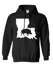 Load image into Gallery viewer, Pullover Hooded Sweatshirt Louisiana Black Wild Hog Vibrant Design High Quality Tight Knit Ring Spun Low Maintenance Cotton Printed With The Newest Available Color Transfer Technology