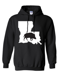 Pullover Hooded Sweatshirt Louisiana Black Wild Hog Vibrant Design High Quality Tight Knit Ring Spun Low Maintenance Cotton Printed With The Newest Available Color Transfer Technology