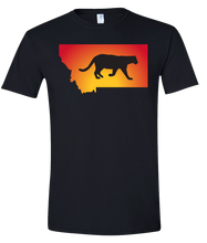 Load image into Gallery viewer, Short Sleeve T-Shirt Montana Black Mountain Lion Vibrant Design High Quality Tight Knit Ring Spun Low Maintenance Cotton Printed With The Newest Available Color Transfer Technology