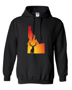 Pullover Hooded Sweatshirt Idaho Black Mule Deer Vibrant Design High Quality Tight Knit Ring Spun Low Maintenance Cotton Printed With The Newest Available Color Transfer Technology