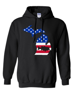 Pullover Hooded Sweatshirt Michigan Black Large Mouth Bass Vibrant Design High Quality Tight Knit Ring Spun Low Maintenance Cotton Printed With The Newest Available Color Transfer Technology