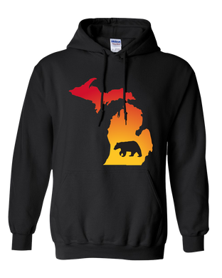 Pullover Hooded Sweatshirt Michigan Black Black Bear Vibrant Design High Quality Tight Knit Ring Spun Low Maintenance Cotton Printed With The Newest Available Color Transfer Technology