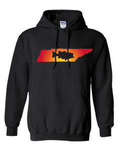 Pullover Hooded Sweatshirt Tennessee Black Large Mouth Bass Vibrant Design High Quality Tight Knit Ring Spun Low Maintenance Cotton Printed With The Newest Available Color Transfer Technology