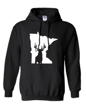 Load image into Gallery viewer, Pullover Hooded Sweatshirt Minnesota Black Whitetail Deer Vibrant Design High Quality Tight Knit Ring Spun Low Maintenance Cotton Printed With The Newest Available Color Transfer Technology