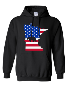 Pullover Hooded Sweatshirt Minnesota Black Black Bear Vibrant Design High Quality Tight Knit Ring Spun Low Maintenance Cotton Printed With The Newest Available Color Transfer Technology
