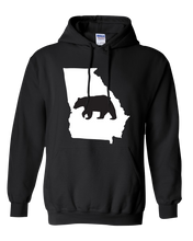 Load image into Gallery viewer, Pullover Hooded Sweatshirt Georgia Black Black Bear Vibrant Design High Quality Tight Knit Ring Spun Low Maintenance Cotton Printed With The Newest Available Color Transfer Technology