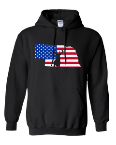 Pullover Hooded Sweatshirt Nebraska Black Whitetail Deer Vibrant Design High Quality Tight Knit Ring Spun Low Maintenance Cotton Printed With The Newest Available Color Transfer Technology