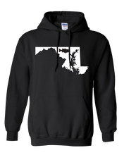 Load image into Gallery viewer, Pullover Hooded Sweatshirt Maryland Black Large Mouth Bass Vibrant Design High Quality Tight Knit Ring Spun Low Maintenance Cotton Printed With The Newest Available Color Transfer Technology