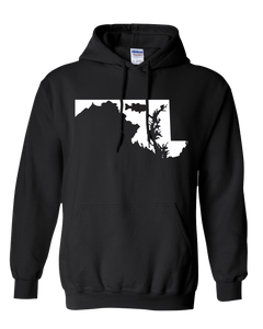 Pullover Hooded Sweatshirt Maryland Black Large Mouth Bass Vibrant Design High Quality Tight Knit Ring Spun Low Maintenance Cotton Printed With The Newest Available Color Transfer Technology