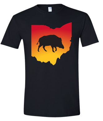 Short Sleeve T-Shirt Ohio Black Wild Hog Vibrant Design High Quality Tight Knit Ring Spun Low Maintenance Cotton Printed With The Newest Available Color Transfer Technology