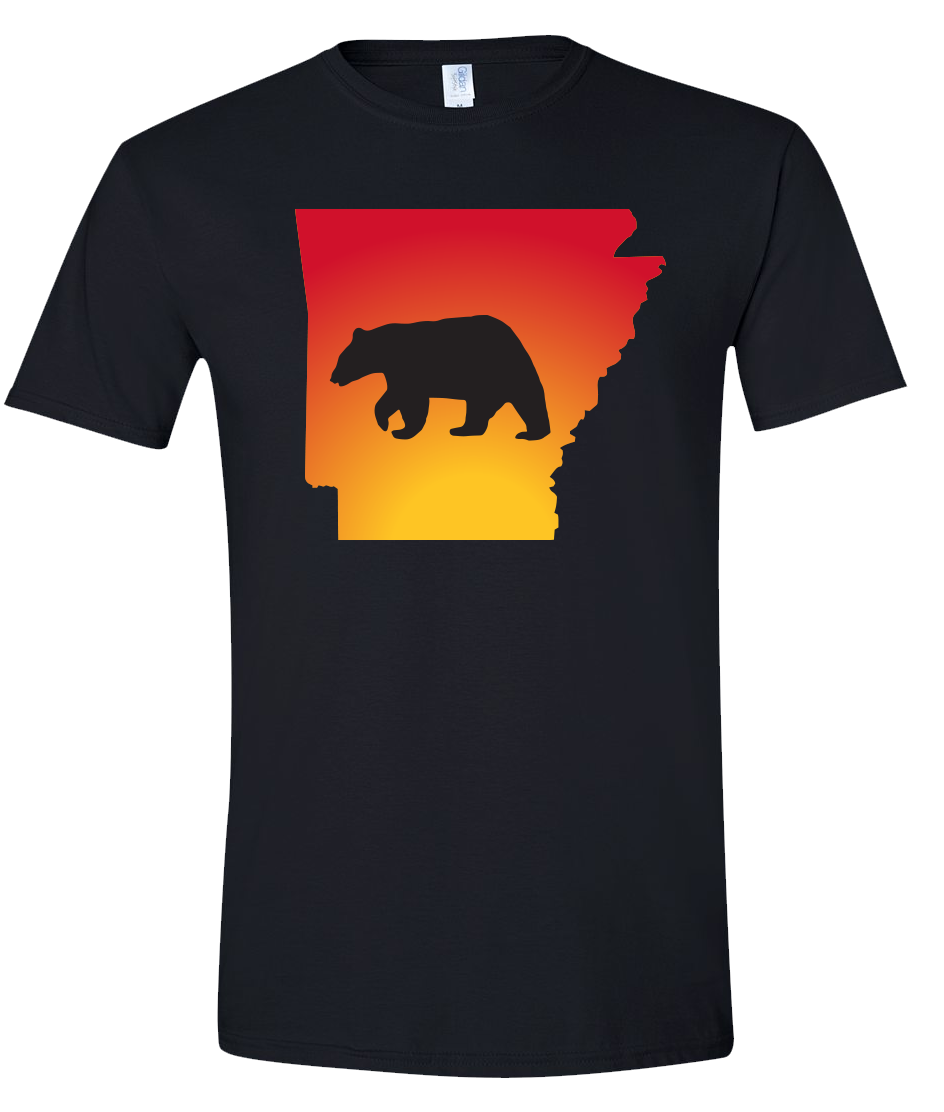 Short Sleeve T-Shirt Arkansas Black Black Bear Vibrant Design High Quality Tight Knit Ring Spun Low Maintenance Cotton Printed With The Newest Available Color Transfer Technology