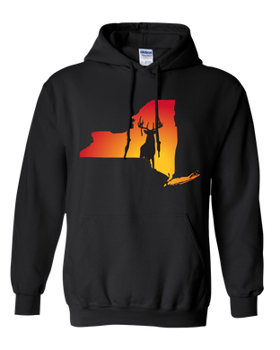 Pullover Hooded Sweatshirt New York Black Whitetail Deer Vibrant Design High Quality Tight Knit Ring Spun Low Maintenance Cotton Printed With The Newest Available Color Transfer Technology