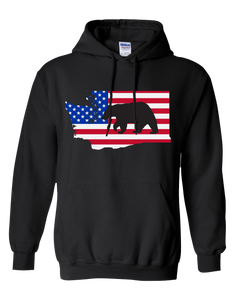 Pullover Hooded Sweatshirt Washington Black Black Bear Vibrant Design High Quality Tight Knit Ring Spun Low Maintenance Cotton Printed With The Newest Available Color Transfer Technology