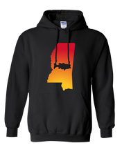 Load image into Gallery viewer, Pullover Hooded Sweatshirt Mississippi Black Large Mouth Bass Vibrant Design High Quality Tight Knit Ring Spun Low Maintenance Cotton Printed With The Newest Available Color Transfer Technology