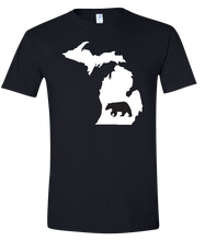 Load image into Gallery viewer, Short Sleeve T-Shirt Michigan Black Black Bear Vibrant Design High Quality Tight Knit Ring Spun Low Maintenance Cotton Printed With The Newest Available Color Transfer Technology