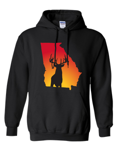 Pullover Hooded Sweatshirt Georgia Black Whitetail Deer Vibrant Design High Quality Tight Knit Ring Spun Low Maintenance Cotton Printed With The Newest Available Color Transfer Technology