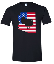 Load image into Gallery viewer, Short Sleeve T-Shirt Arizona Black Turkey Vibrant Design High Quality Tight Knit Ring Spun Low Maintenance Cotton Printed With The Newest Available Color Transfer Technology
