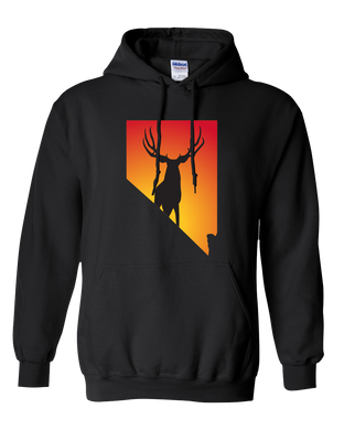 Pullover Hooded Sweatshirt Nevada Black Mule Deer Vibrant Design High Quality Tight Knit Ring Spun Low Maintenance Cotton Printed With The Newest Available Color Transfer Technology