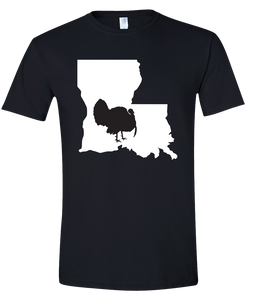 Short Sleeve T-Shirt Louisiana Black Turkey Vibrant Design High Quality Tight Knit Ring Spun Low Maintenance Cotton Printed With The Newest Available Color Transfer Technology