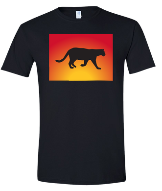 Short Sleeve T-Shirt Colorado Black Mountain Lion Vibrant Design High Quality Tight Knit Ring Spun Low Maintenance Cotton Printed With The Newest Available Color Transfer Technology