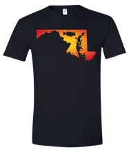 Load image into Gallery viewer, Short Sleeve T-Shirt Maryland Black Large Mouth Bass Vibrant Design High Quality Tight Knit Ring Spun Low Maintenance Cotton Printed With The Newest Available Color Transfer Technology