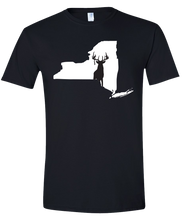 Load image into Gallery viewer, Short Sleeve T-Shirt New York Black Whitetail Deer Vibrant Design High Quality Tight Knit Ring Spun Low Maintenance Cotton Printed With The Newest Available Color Transfer Technology