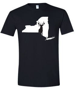 Short Sleeve T-Shirt New York Black Whitetail Deer Vibrant Design High Quality Tight Knit Ring Spun Low Maintenance Cotton Printed With The Newest Available Color Transfer Technology