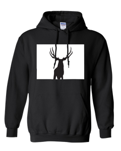 Pullover Hooded Sweatshirt Colorado Black Mule Deer Vibrant Design High Quality Tight Knit Ring Spun Low Maintenance Cotton Printed With The Newest Available Color Transfer Technology