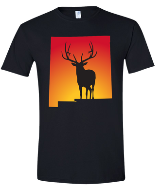 Short Sleeve T-Shirt New Mexico Black Elk Vibrant Design High Quality Tight Knit Ring Spun Low Maintenance Cotton Printed With The Newest Available Color Transfer Technology