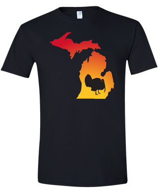Short Sleeve T-Shirt Michigan Black Turkey Vibrant Design High Quality Tight Knit Ring Spun Low Maintenance Cotton Printed With The Newest Available Color Transfer Technology