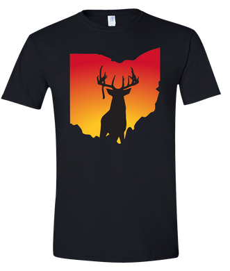 Short Sleeve T-Shirt Ohio Black Whitetail Deer Vibrant Design High Quality Tight Knit Ring Spun Low Maintenance Cotton Printed With The Newest Available Color Transfer Technology