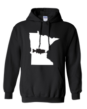 Load image into Gallery viewer, Pullover Hooded Sweatshirt Minnesota Black Large Mouth Bass Vibrant Design High Quality Tight Knit Ring Spun Low Maintenance Cotton Printed With The Newest Available Color Transfer Technology