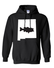 Load image into Gallery viewer, Pullover Hooded Sweatshirt New Mexico Black Large Mouth Bass Vibrant Design High Quality Tight Knit Ring Spun Low Maintenance Cotton Printed With The Newest Available Color Transfer Technology