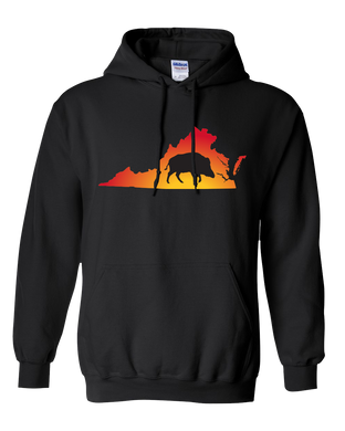 Pullover Hooded Sweatshirt Virginia Black Wild Hog Vibrant Design High Quality Tight Knit Ring Spun Low Maintenance Cotton Printed With The Newest Available Color Transfer Technology