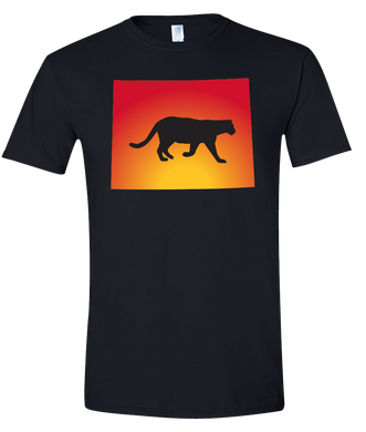Short Sleeve T-Shirt Wyoming Black Mountain Lion Vibrant Design High Quality Tight Knit Ring Spun Low Maintenance Cotton Printed With The Newest Available Color Transfer Technology