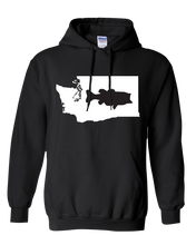Load image into Gallery viewer, Pullover Hooded Sweatshirt Washington Black Large Mouth Bass Vibrant Design High Quality Tight Knit Ring Spun Low Maintenance Cotton Printed With The Newest Available Color Transfer Technology