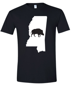Short Sleeve T-Shirt Mississippi Black Wild Hog Vibrant Design High Quality Tight Knit Ring Spun Low Maintenance Cotton Printed With The Newest Available Color Transfer Technology