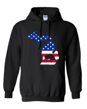 Load image into Gallery viewer, Pullover Hooded Sweatshirt Michigan Black Wild Hog Vibrant Design High Quality Tight Knit Ring Spun Low Maintenance Cotton Printed With The Newest Available Color Transfer Technology