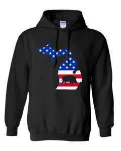 Pullover Hooded Sweatshirt Michigan Black Wild Hog Vibrant Design High Quality Tight Knit Ring Spun Low Maintenance Cotton Printed With The Newest Available Color Transfer Technology