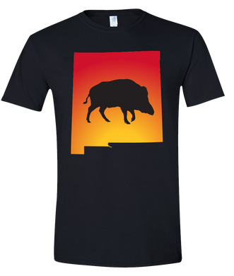 Short Sleeve T-Shirt New Mexico Black Wild Hog Vibrant Design High Quality Tight Knit Ring Spun Low Maintenance Cotton Printed With The Newest Available Color Transfer Technology